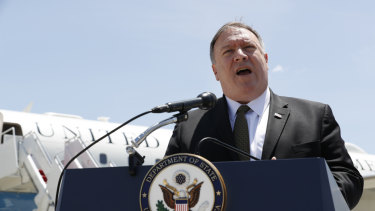 US Secretary of State Mike Pompeo speaks to the media at Andrews Air Force Base on Sunday.