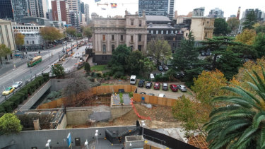 One of the City Loop safety upgrade sites, next to Parliament House, sits dormant on Monday.