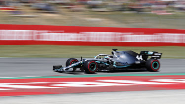 Lewis Hamilton en route to victory in the Spanish Formula One Grand Prix.