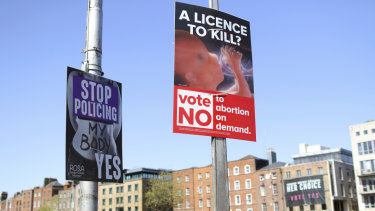Pro and anti-abortion posters reflect voters' differences of opinion in Dublin.