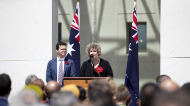 The striking installation has  been designed by  landscape architect Phillip Johnson, who teamed up with 5000 Poppies creators Lynn Berry (pictured) and Margaret Knight.