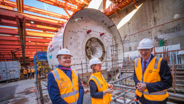 The first tunnel boring machine for the Metro Tunnel is still being assembled at North Melbourne.