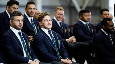 Adam Ashley-Cooper (front left) alongside captain Michael Hooper at today's announcement.