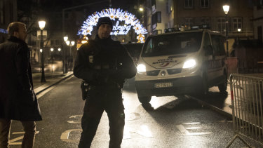 Emergency services patrol at the centre of the city of Strasbourg following a shooting, eastern France.