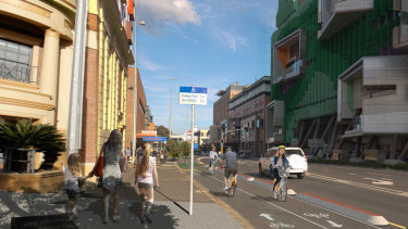 A concept image of the Woolloongabba bikeway from 2017.