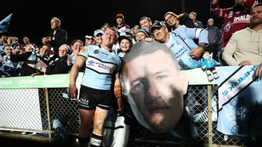 Farewell: Sharks captain Paul Gallen acknowledges fans at Lottoland.