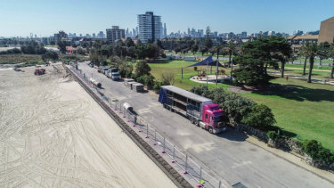 Part of St Kilda beach and the adjacent Catani Gardens were shut for 15 days to host a one-day festival. The beach and gardens will re-open on Wednesday night.