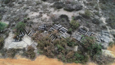 Broken pallets on the ground at Graham White's Kaniva property.