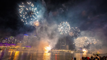 People watch the fireworks ahead of New Year's Eve 2018 at South Bank.