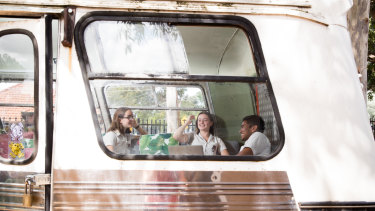 The bus, complete with powerpoints, is part of a broader shift within the school to improve students' wellbeing.
