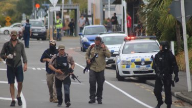 Armed police on Langdons Road, Papanui following the shootings.