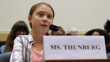 Youth climate change activist Greta Thunberg speaks at a US House Foreign Affairs Committee subcommittee hearing on climate change on Wednesday.