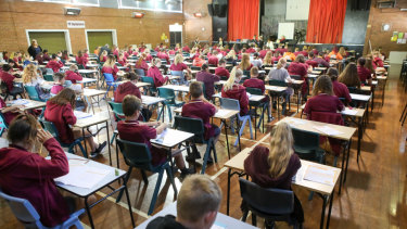 Students sitting the NAPLAN test.