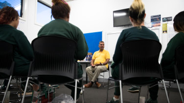 Prisoners at Dillwynia Correctional Centre, participating in a self help program with facilitator Andy Narayanan.