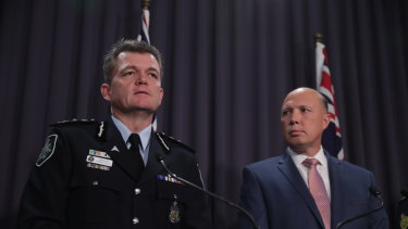 AFP commissioner Andrew Colvin and Home Affairs Minister Peter Dutton.