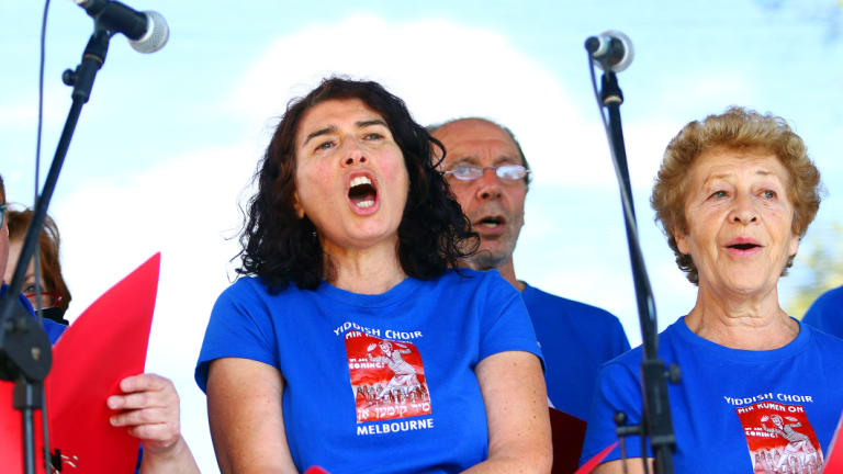 The Mir Kumen On (We Are Coming) Yiddish choir perform at the In One Voice festival in Elsternwick in 2016.