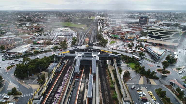 An overhead view of Sunshine railway station, which would link with the proposed Suburban Rail Loop.