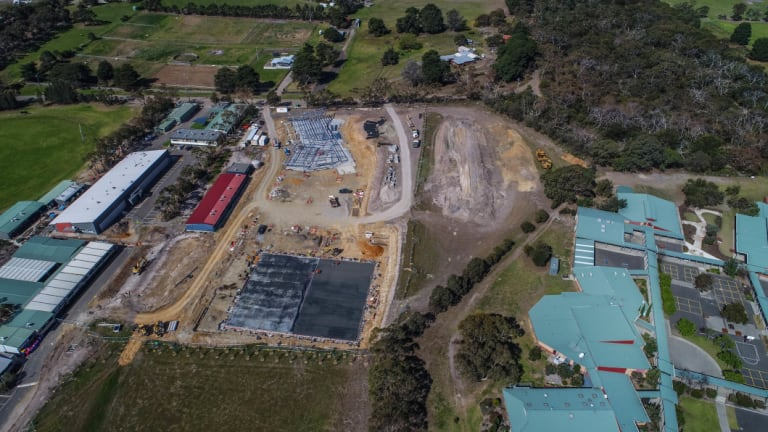 Construction near Bellarine secondary college's Drysdale campus (on right) as part of the neighboring St Ignatius Catolic College expansion.