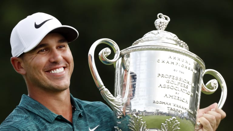 Great year: Brooks Koepka holds the Wanamaker Trophy after he won the PGA Championship.