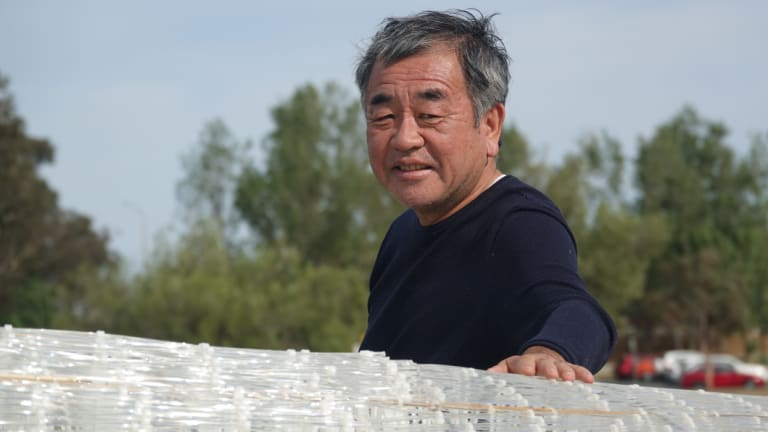 "Kengo Kuma at the unveiling of his installation entitled ""Namako"" on Aspen Island in Lake Burley Griffin."