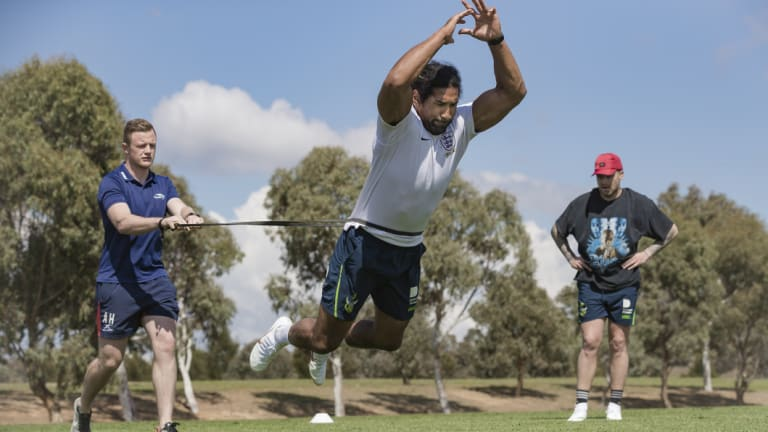 Blake Austin and Sia Soliola attend a speed and agility course run by Andrew Heffernan.