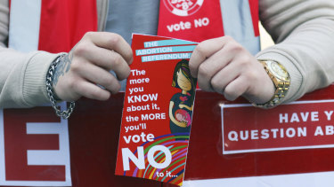 A pro-life supporter canvasses for a No vote on the streets of Dublin, Ireland.