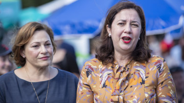 Queensland Premier Annastacia Palaszczuk (right) and Queensland Deputy Premier Jackie Trad address the media on Sunday after federal election.