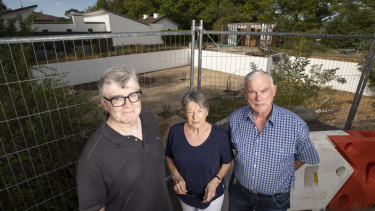 From left: David Harvey, Chris Windsor, and Graeme Windsor from the Yarralumla Residents Association outside the abandoned Yarralumla development.