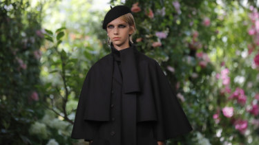 A model wears a creation for the Dior Haute Couture Fall-Winter 2020 fashion collection.