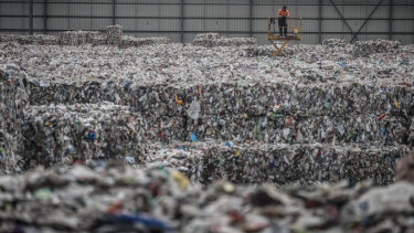 Tens of thousands of recyclable materials left at the Derrimut warehouse by recycler SKM.