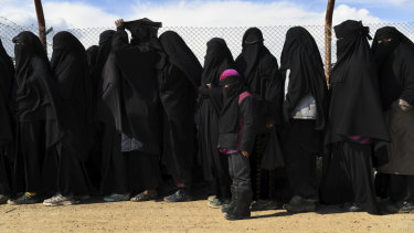 Foreign Islamic State wives and children at the al-Hawl camp in Syria.