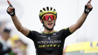 Simon Yates crosses the finish line to win stage 15 of the Tour de France on Sunday.