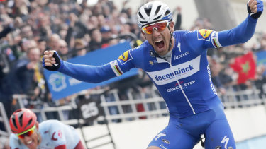 Belgian Philippe Gilbert, riding for Deceuninck–Quick-Step, claims the 'Hell of the North'.