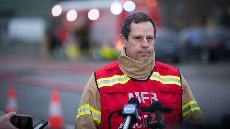 Incident controller Trent Curtin at the scene of the factory blaze on Friday morning.
