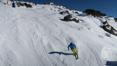 Skiers and snowboarders at Perisher.