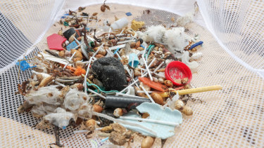 Plastic rubbish washed up onto Warrnambool's Second Beach.