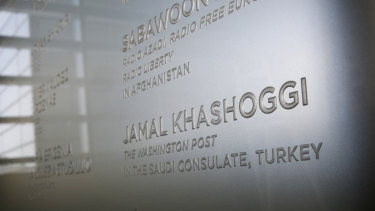 The name of Washington Post columnist Jamal Khashoggi, who was killed inside the Saudi Consulate in Istanbul, is etched in the Newseum's Journalists Memorial in Washington. It represents all journalists who lost their lives around the world in 2018.