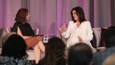Julia Banks appeared at the Virgin Australia Melbourne Fashion Festival's International Women's Day breakfast on Friday.