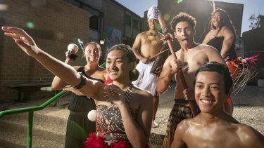 Members of Polynesian dance group Island Pride rehearse for Polyfest at Karabar High School. L-R: Zali Andrews (Maori), Edally Eteuati (Samoan), Tearoa Tai'-Maine (Cook Islands), Elijah Emanuel (Maori), Scott Dolvin (Samoan), and Phillinah Utia (Cook Islands).