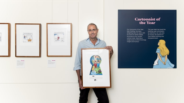 Matt Golding was announced as cartoonist of the year at the launch of the Behind the Lines exhibition on Friday.