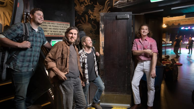 The Teskey Brothers band bumping in for the first performance at St Kilda's re-opened Esplanade Hotel.