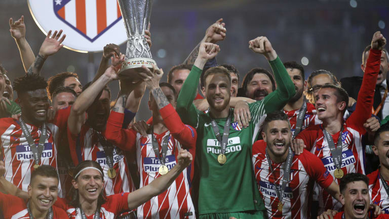Atletico celebrate their Europa League final victory.