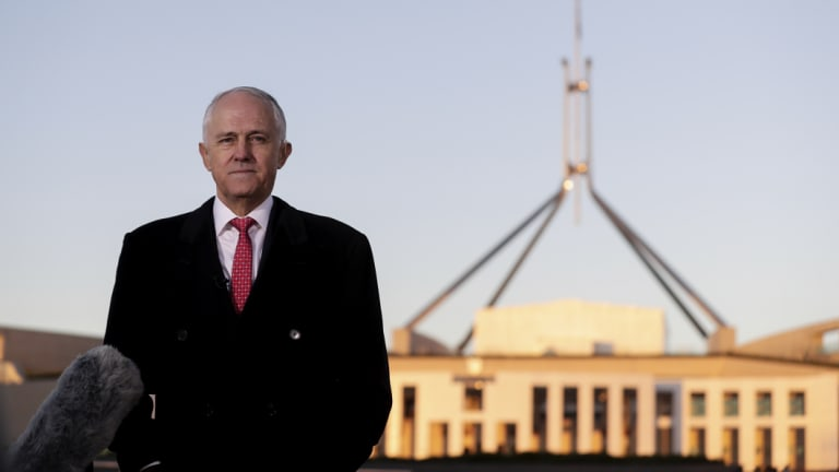 Prime Minister Malcolm Turnbull outside Parliament House on Wednesday.