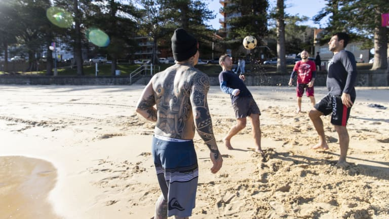 Warming up at Manly on Tuesday:  spring weather is just around the bend.