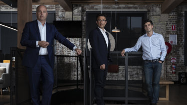 Afterpay cofounders David Hancock, Anthony Eisen and Nick Molnar.