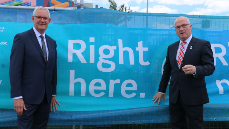 Thew home to Australia's sixth underseas telecommunications cable is going to be built at Maroochydore. Pictured is Vertiv's Australian managing director Robert Linsdell and Sunshine Coast mayor Mark Jamieson.