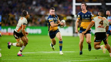 They were trying to say it was their home: Clint Gutherson and the Eels showed Wests Tigers who's boss at the new Bankwest Stadium on Easter Monday.