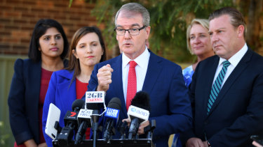 NSW Labor Leader Michael Daley speaks to the media at Milperra in Sydney.