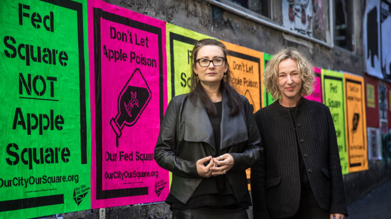 Tania Davidge and Sally Warhaft, who are part of a coalition opposed to the Apple store opening in Federation Square.
