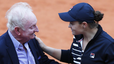 Grand praise: Australia's Ashleigh Barty greets former Australian tennis ace Rod Laver after winning the French Open women's singles title.
